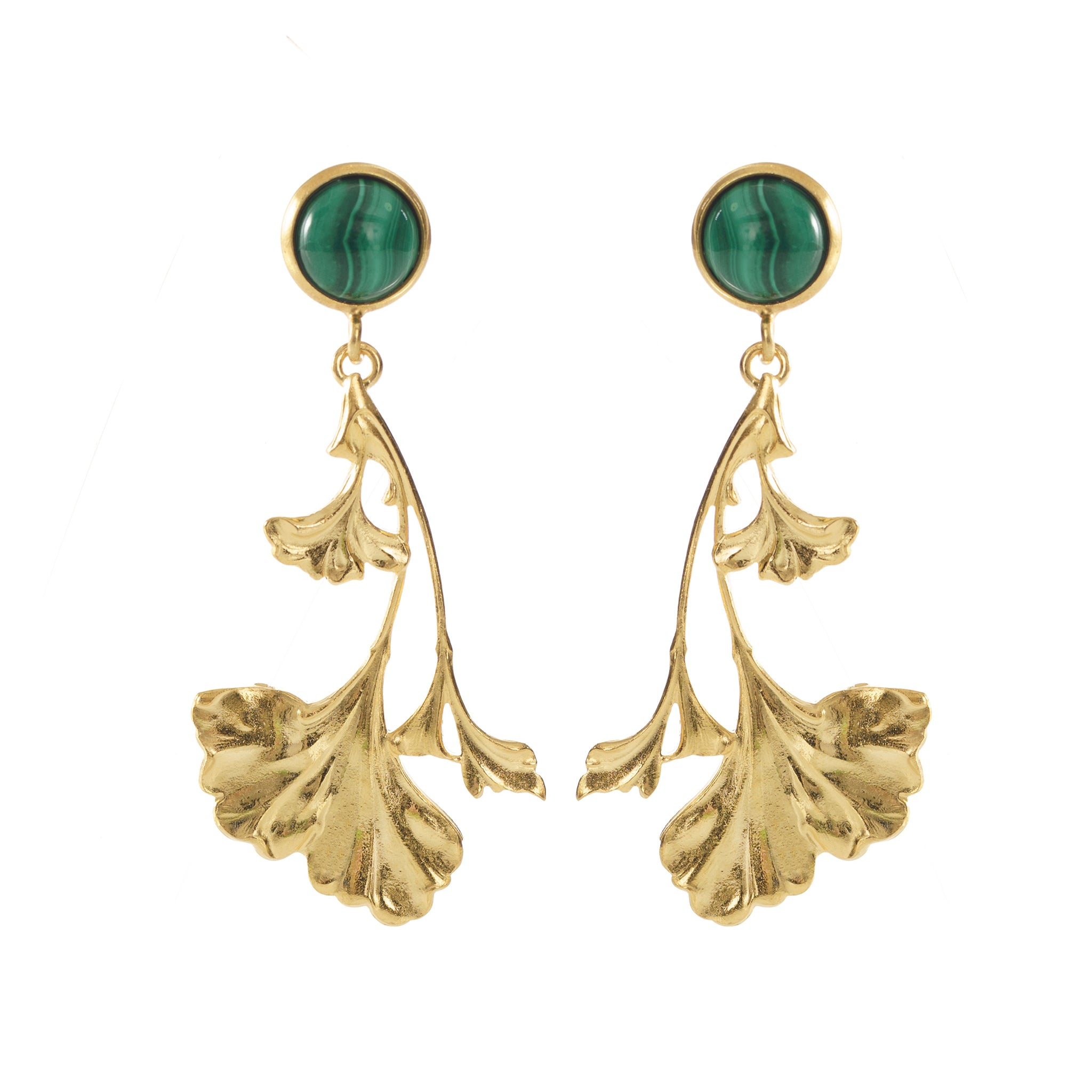 DAHLIA Earrings Gold-Plated with a Malachite cabochon