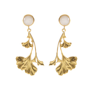 DAHLIA Earrings Gold-Plated with a White Jade cabochon