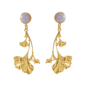 DAHLIA Earrings Gold-Plated with a chalcedony  cabochon