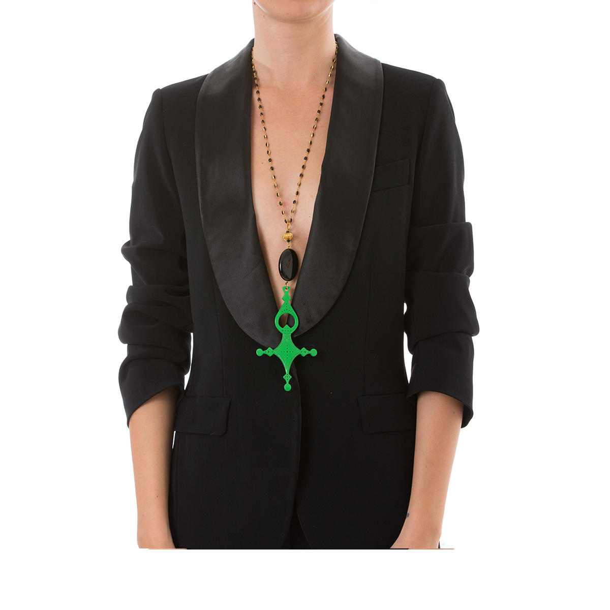 DESERT Necklace Black Agate and Green Cross Lacquered-Horn