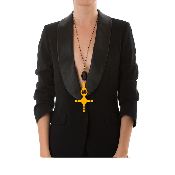 DESERT Necklace Black Agate and Yellow Cross Lacquered-Horn