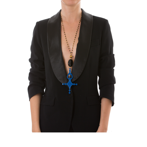 DESERT Necklace Black Agate and Blue Cross Lacquered-Horn