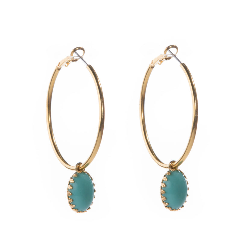 DAMARA Gold Hoops earrings,  cabochon Turquoise