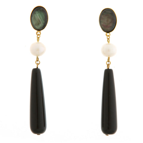 DROPY Earring Gold-Plated Pearl and Black Agate