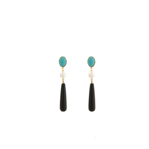 DROPY Earring Gold-Plated Turquoise and Black Agate and Pearl