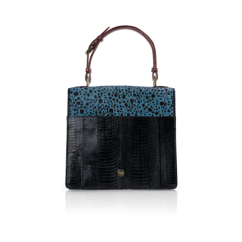 Top Handle Bag TAHDAH Blue Polka dot and black cobra