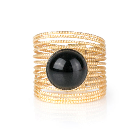 ENEE,  Gold-Plated Ring with a Black Agate