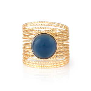 ENEE Gold-Plated Ring & Hand Painted Blue Cabochon