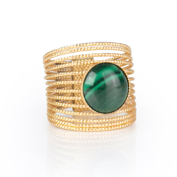 ENEE,  Gold-Plated Ring with a Malachite stone