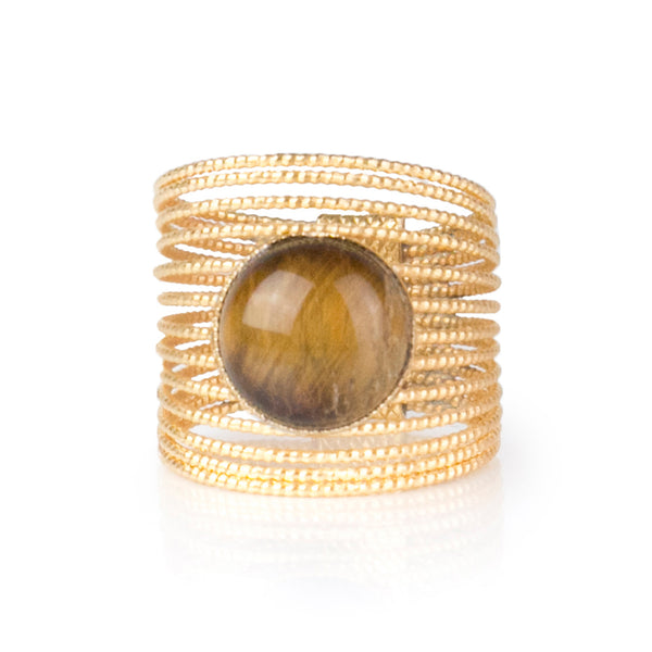 ENEE,  Gold-Plated Ring with a Tiger Eye stone