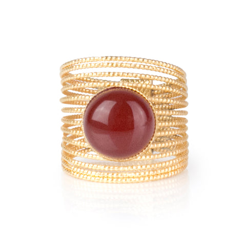 ENEE,  Gold-Plated Ring with a Carnelian stone