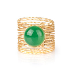 ENEE,  Gold-Plated Ring with a Green Agate stone