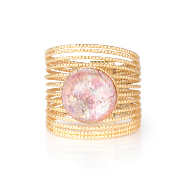 ENEE Gold-Plated Ring & Hand Painted Pink Cabochon