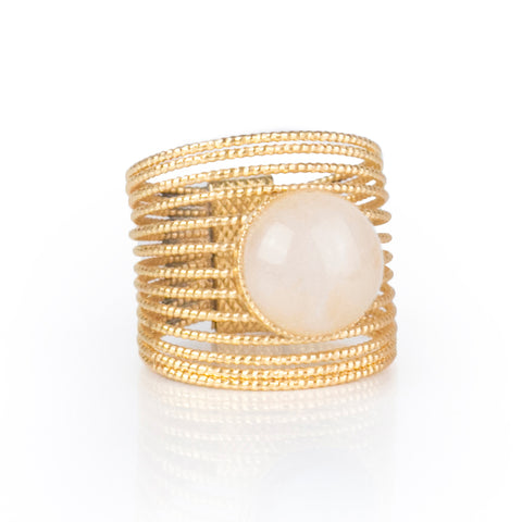 ENEE,  Gold-Plated Ring with a white jade stone