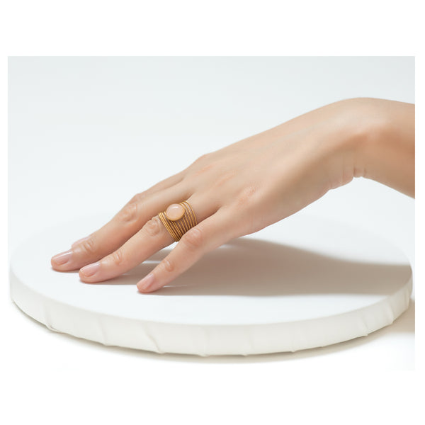 ENEE,  Gold-Plated Ring with a quartz rose stone
