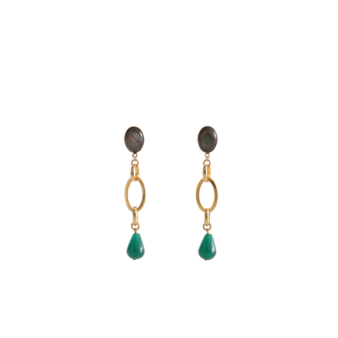 EVA Earring Gold-Plated Grey and Green Agate