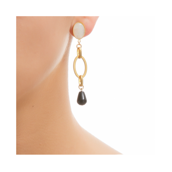 EVA Earring Gold-Plated Pearl and Black Agate