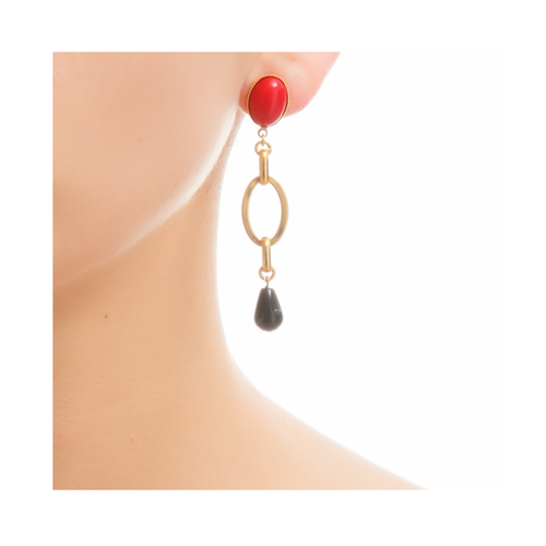 EVA Earring Gold-Plated Red and Black