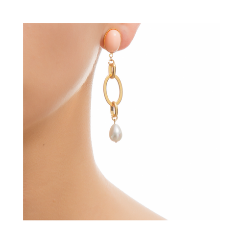 EVA Earring Gold-Plated Coral and Pearl