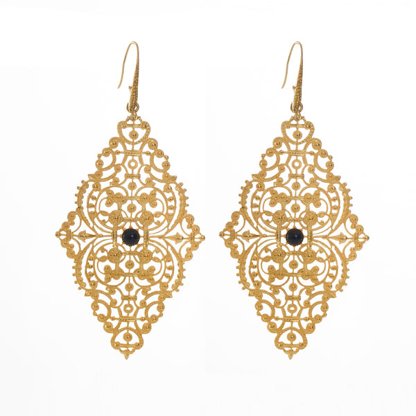 FAUSTINE Delicate Filigree Earrings Black