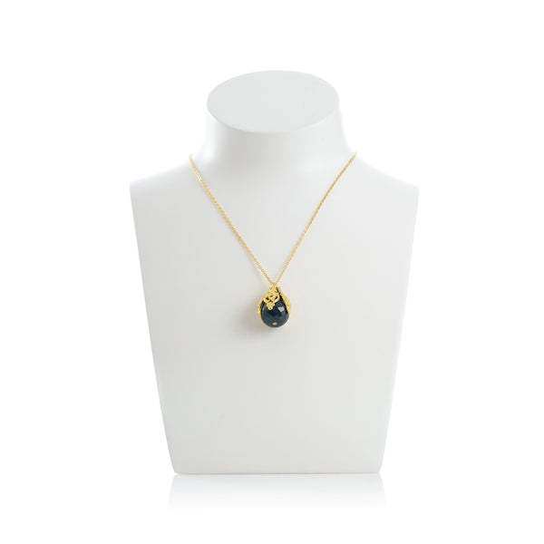 FLORA Pendant Necklace Black Agate