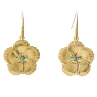 FLORINE Flower Dangling Earrings Turquoise
