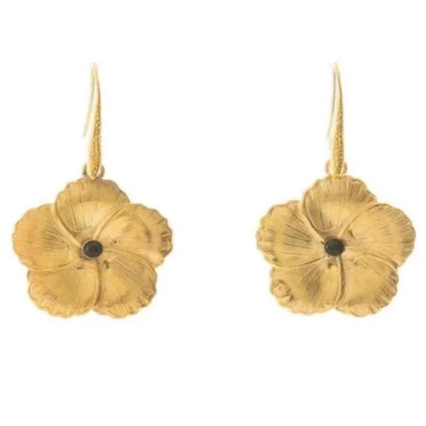 FLORINE Flower Dangling Earrings Black