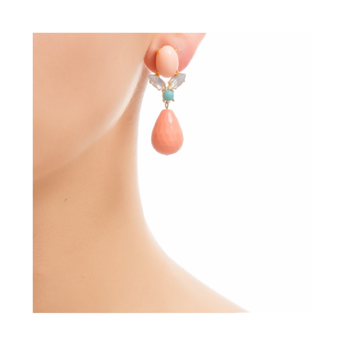 GRACE Earring Swarovski Crystal and Coral