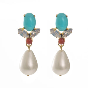 GRACE Earring Swarovski Crystal Turquoise and Pearl