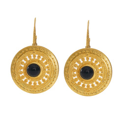ILONA Earrings Gold-Plated with a black agate cabochon
