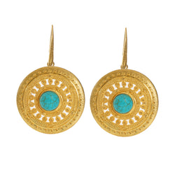 ILONA  Earrings Gold-Plated with a howlite cabochon