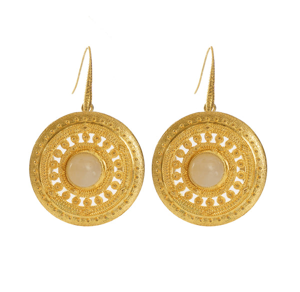 ILONA  Earrings Gold-Plated with a white jade cabochon