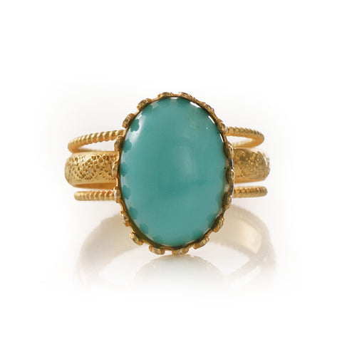 IRENE Adjustable Ring Turquoise Cabochon