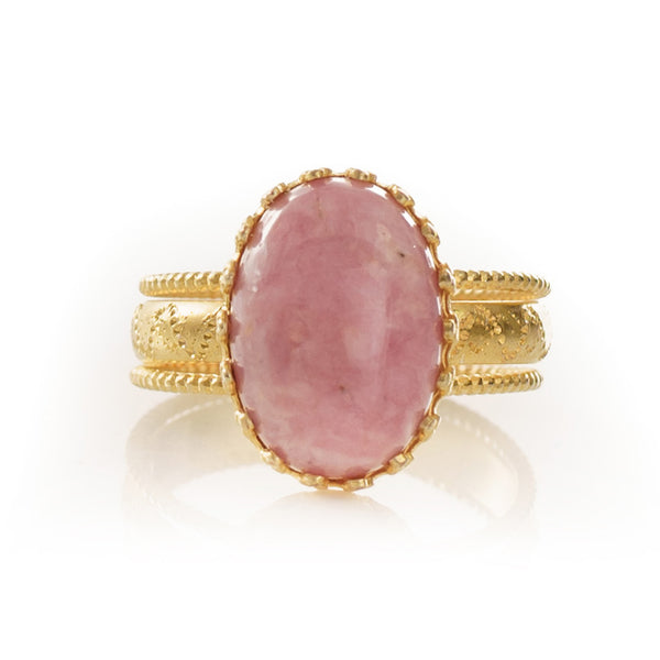 IRENE Adjustable Ring Rhodonite Cabochon