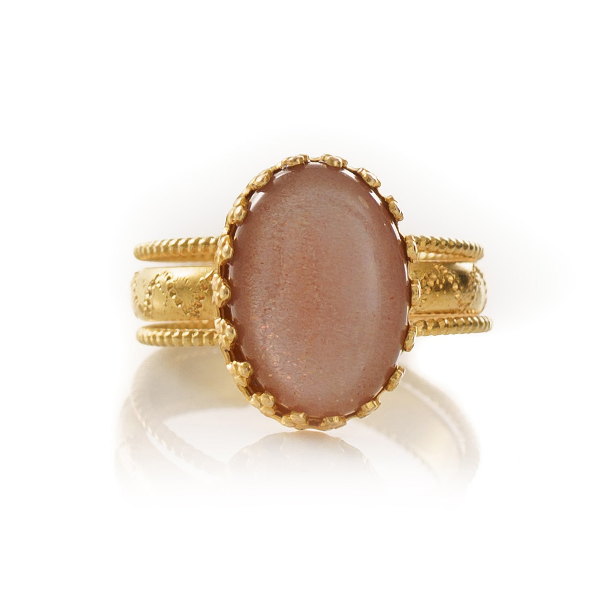 IRENE Adjustable Ring Pink Opal