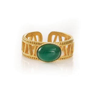 JANIS Adjustable Ring Green Agate