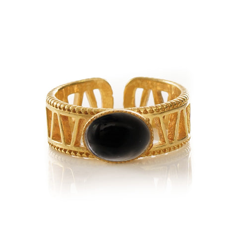 JANIS Adjustable Ring Black Agate