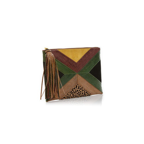 Pouch KAPPOW Summer Green and Brown Cobra with Leopard print and Mustard Suede