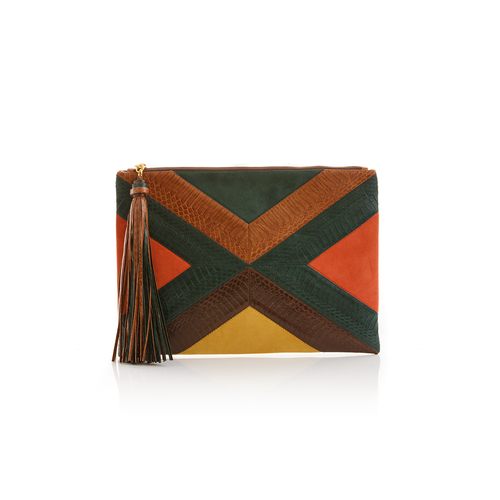 Pouch KAPPOW Dark Green and Tobacco Cobra with Paprika and Mustard Suede