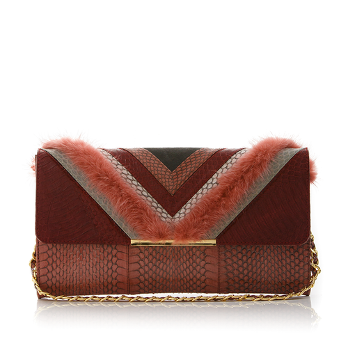 Clutch Bag KILLAH Cassis & Cognac Cobra with Cognac Mink