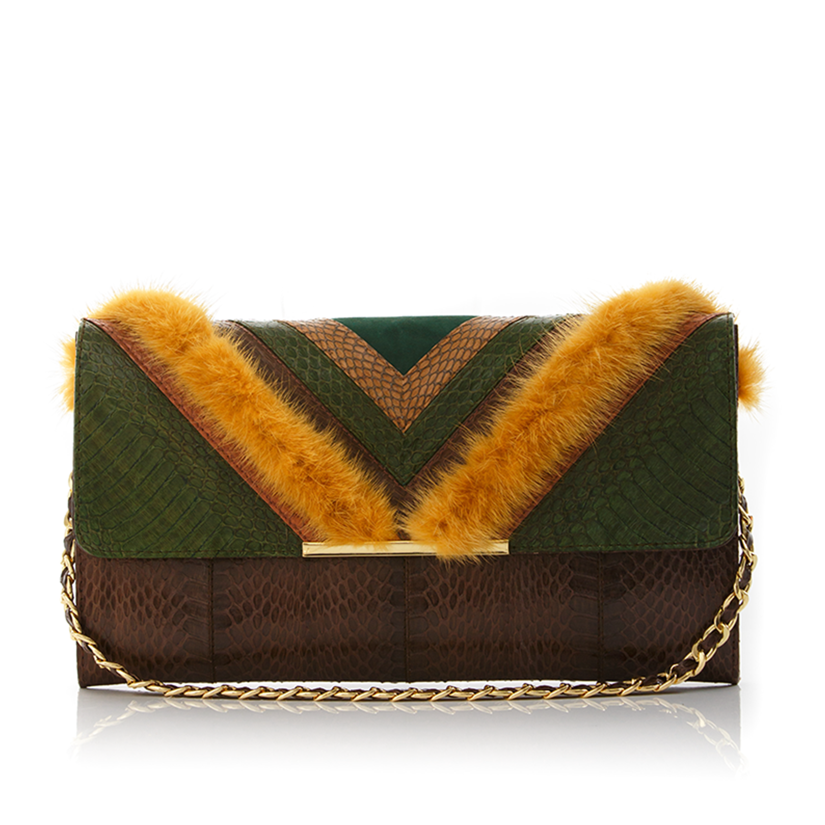 Clutch Bag KILLAH Summer Green & Coffee Brown Cobra with Mustard Mink