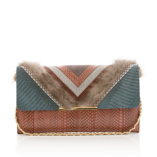 Clutch Bag KILLAH Grey Blue & Cognac Cobra & Grey Mink