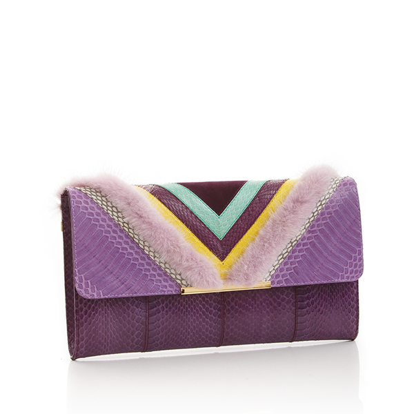 Clutch Bag KILLAH Purple & Violet Cobra & Purple Mink