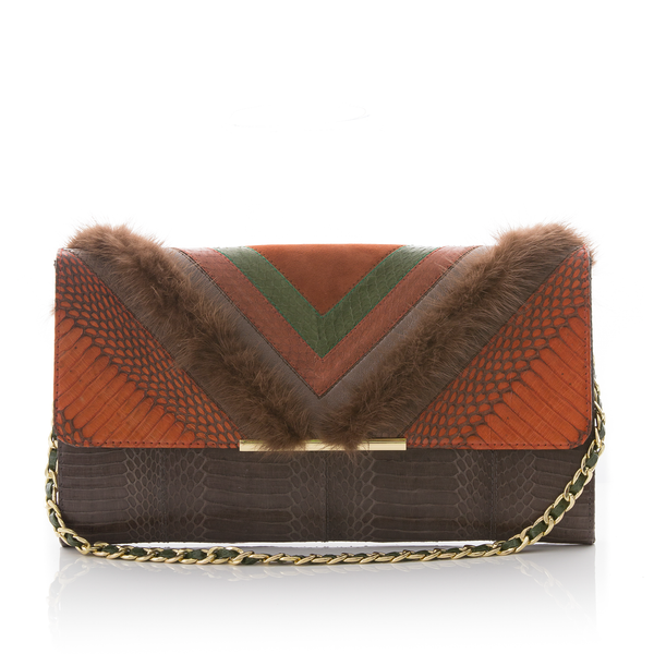 Clutch Bag KILLAH ORBK and Turtle Cobra with Brown Mink