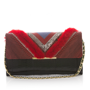 Clutch Bag KILLAH Red BK and Black Cobra with Lipstick Mink