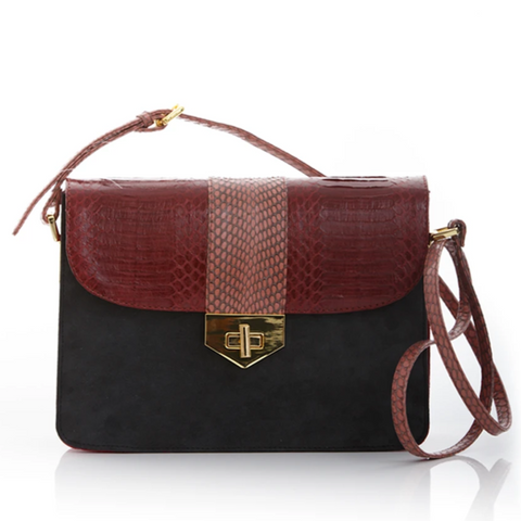 Cross Body Bag LIM LE FO Cassis Cobra and Elephant Grey Suede