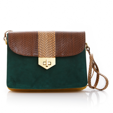 Cross Body Bag LIM LE FO Brown Cobra with Forest Green and Mustard Suede