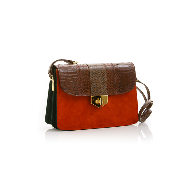 Crossbody Bag LIM LE FO Brown Cobra with Paprika and Green Forest Suede