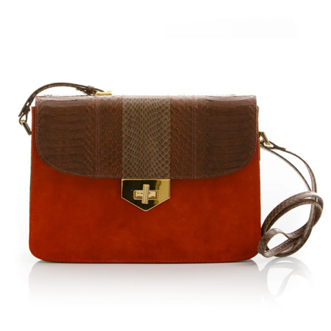 Cross Body Bag LIM LE FO Brown Cobra with Paprika and Green Forest Suede