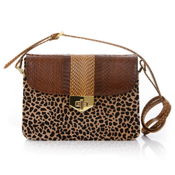 Crossbody Bag LIM LE FO Brown Cobra and Leopard Print